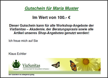 viasanitas gutschein workshops seminare akademie lebensberatung begleitung analysen. Black Bedroom Furniture Sets. Home Design Ideas